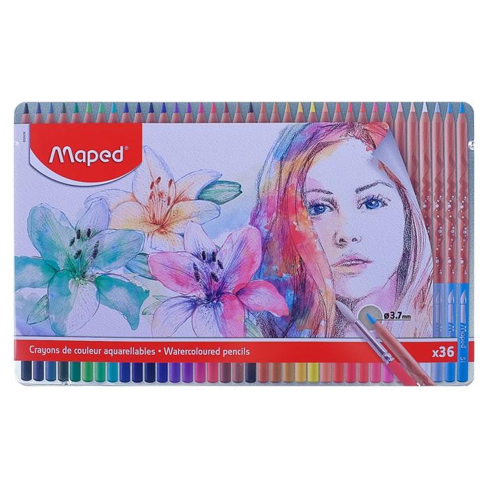 Карандаши акварельные 36 цветов Maped ARTIST, с кистью, металлический футляр