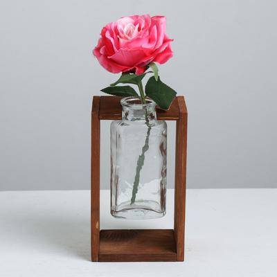 Ваза на деревянной основе, бурая морилка, 18 × 11 × 9 см