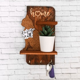 """Key holder with cork Board """"the Cat"""""""