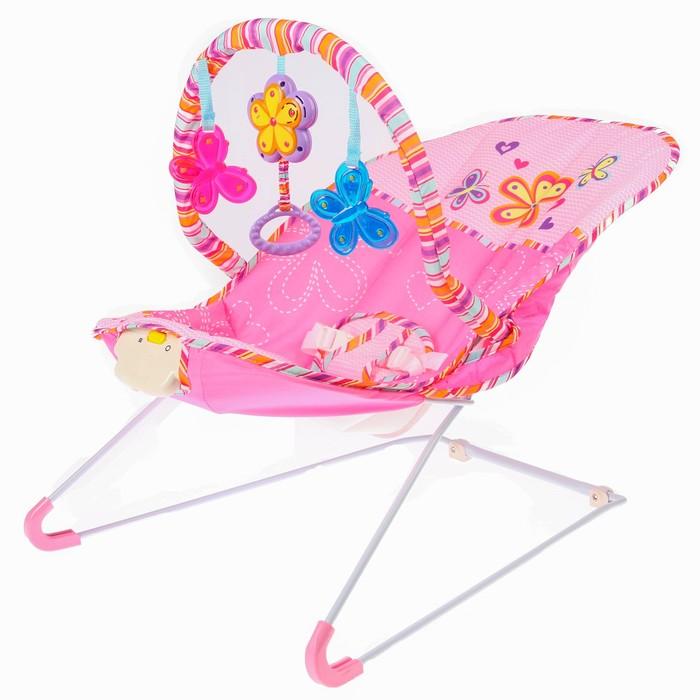 Шезлонг «Бабочки», с погремушками, цвет розовый
