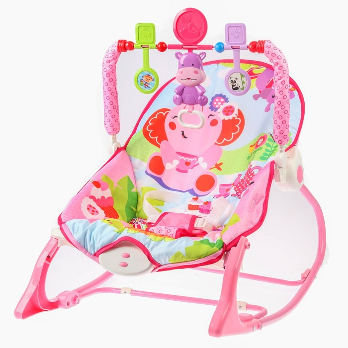 Шезлонг «Розовый слон», с погремушками