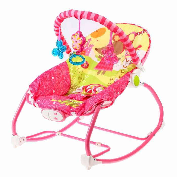 Шезлонг «Мышка», с погремушками, цвет розовый - фото 965144