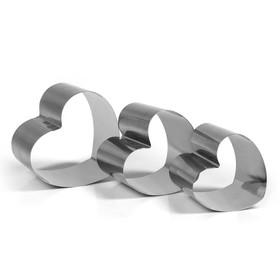 """Набор форм для выпечки и выкладки """"Сердце"""", 11 х 10,5 х 8 см, 3 шт."""