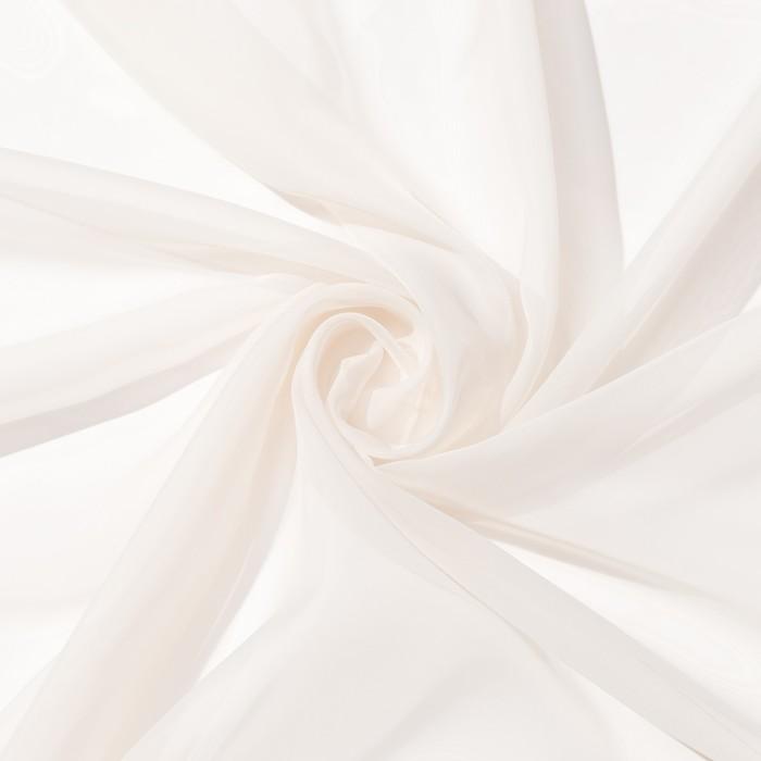 Ткань тюлевая гладкокрашенная 10 м, ширина 300 см, 50 г/м², молочный, вуаль, 100% п/э