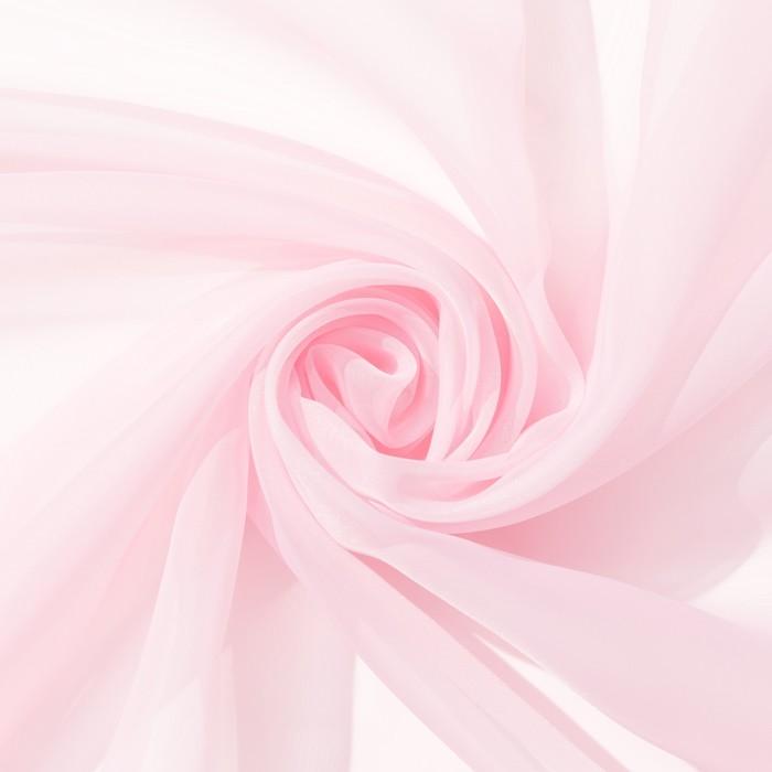 Ткань тюлевая гладкокрашенная 10 м, ширина 300 см, 50 г/м², цвет розовый, вуаль, 100% п/э