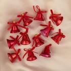 """Ёлочные игрушки """"Красные колокольчики с цветочком"""" (набор 12 шт.)"""
