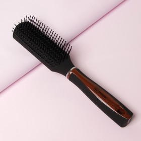 Расчёска массажная, цвет чёрный/коричневый, Т121-2143