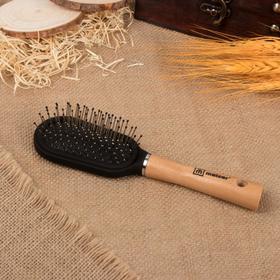 Расчёска массажная с деревянной ручкой, цвет «светлое дерево»