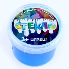 Слайм СТЕКЛО синий с капсулой серебро внутри, 90 г в банке МИКС