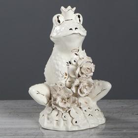 "Копилка ""Лягушка- царевна"", глазурь, белый цвет, 25 см"