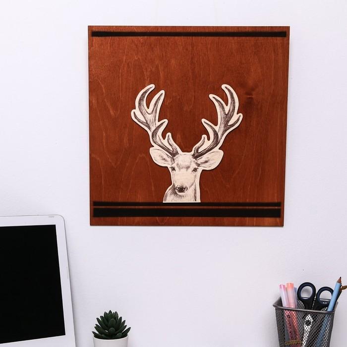 Деревянное интерьерное панно «Олень», 35 × 35 см
