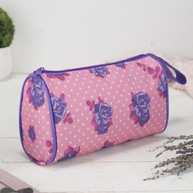 Cosmetic bag-handbag Department with zipper, with handle, color pink