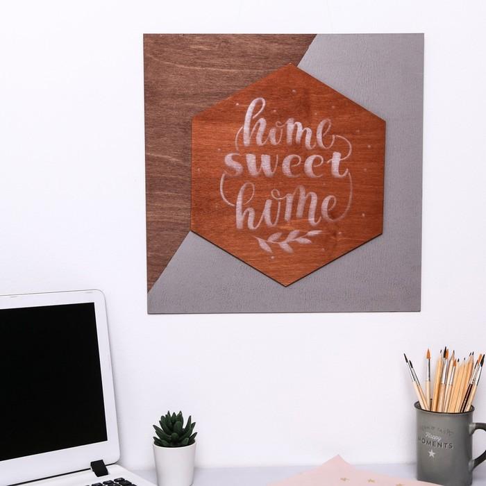 Деревянное интерьерное панно Home, 40 × 40 см