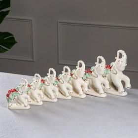 """Набор статуэток """"Слоны"""", 7 предметов, бежевый, цветная лепка, керамика"""