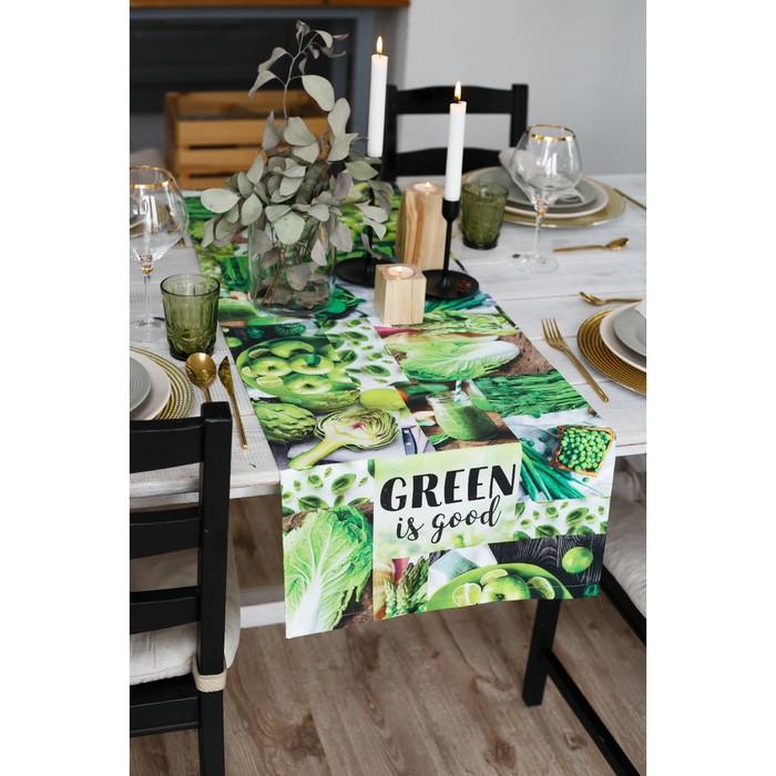 """Дорожка на стол """"Этель"""" GREEN 40х146 см, 100% хл, саржа 190 гр/м2"""
