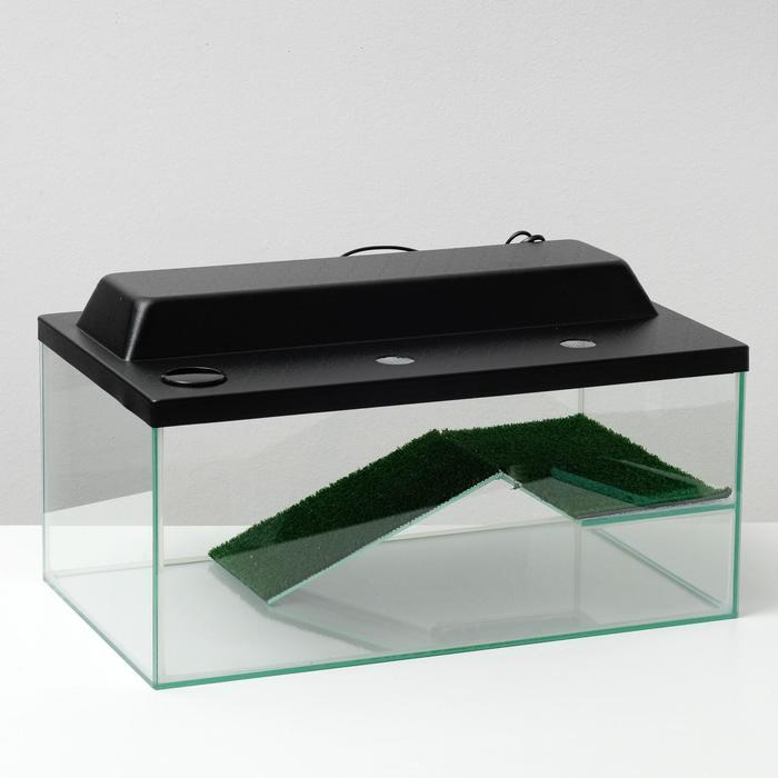 Террариум для черепах 45л, с крышкой, с полкой и лесенкой, 55 х 33 х 25 см