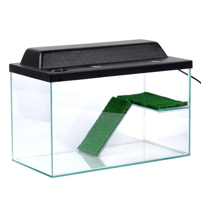 Террариум для черепах 37л, с крышкой, полкой и лесенкой, 50 х 25 х 30 см