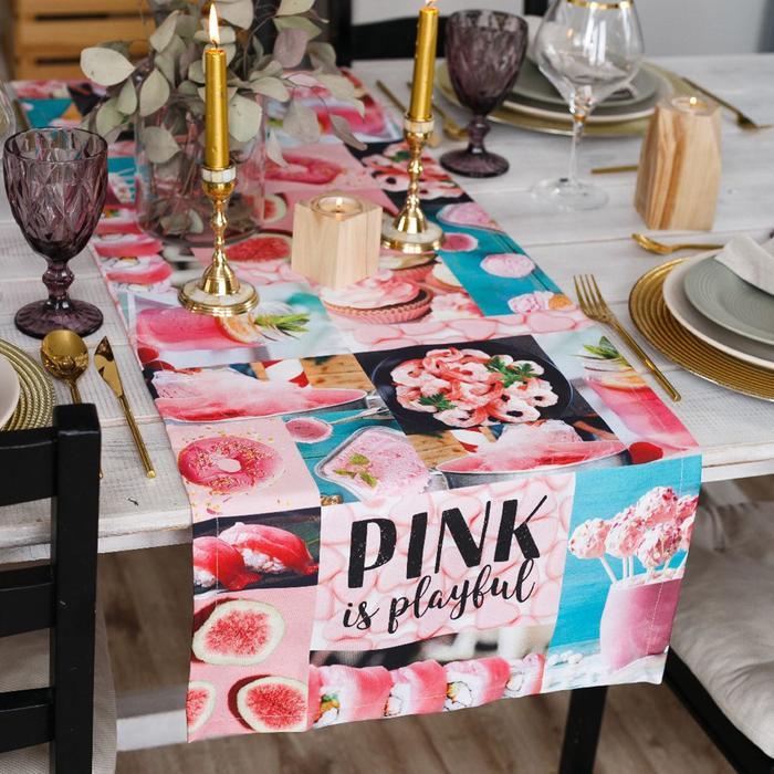 """Дорожка на стол """"Этель""""  PINK 40х146 см, 100% хл, саржа 190 гр/м2"""