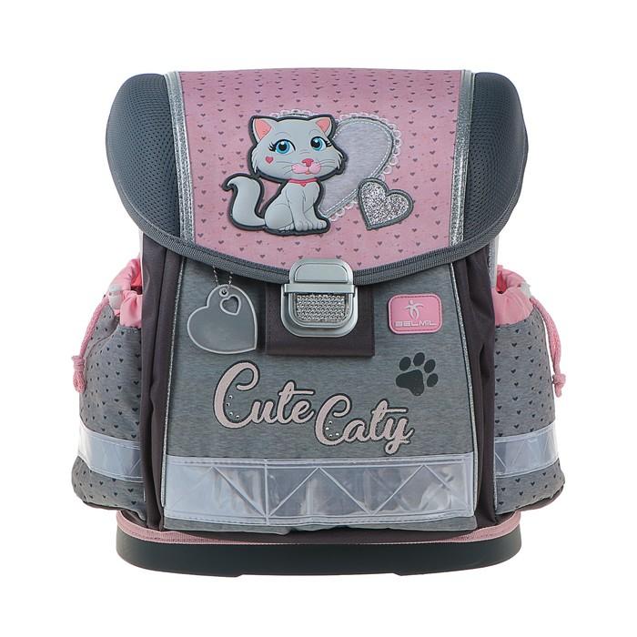Ранец на замке Belmil Classy 36*32*19 дев Cute Caty, розовый/серый