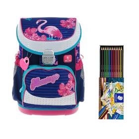 Ранец на замке Belmil Mini-Fit, 36 х 28 х17 см, для девочки, Flamingo, синий/розовый