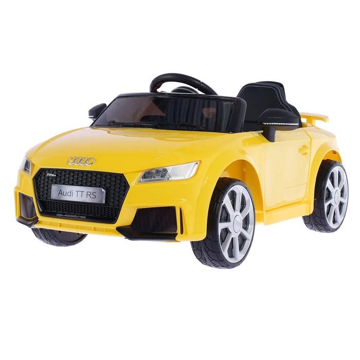 УЦЕНКА Электромобиль AUDI TT RS, окраска желтый, EVA колеса, кожаное сидение