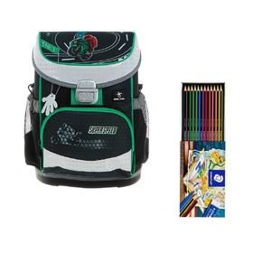 Ранец на замке Belmil Mini-Fit, 36 х 28 х 17 см, для мальчика, Super Speed, серый/зелёный