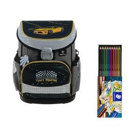 Ранец на замке Belmil Mini-Fit, 36 х 28 х 17 см, для мальчика, Hot Road, серый