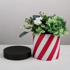 "Подарочная коробка круглая ""Красный - белый"", 16 х 16 см"