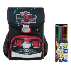 Ранец на замке Belmil Click, 35 х 26 х 17 см, для мальчика, 4Speed, чёрный/красный