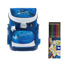 Ранец на замке Belmil Mini-Fit, 36 х 28 х 17 см, для мальчика, Space, синий