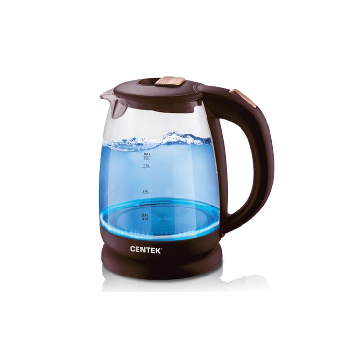 Чайник электрический Centek CT-1069, 2200 Вт, 2 л, стекло, подсветка, коричневый