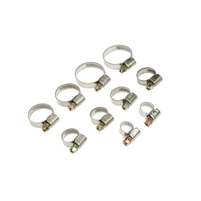 Набор хомутов оцинкованных TUNDRA krep, d=8-12, 10-16, 12-20, 16-27, 20-32 мм, 10 шт