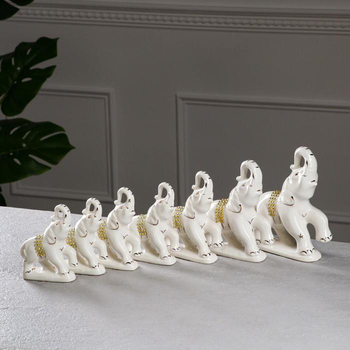 """Набор статуэток """"Слоны"""", 7 предметов, белый, керамика"""