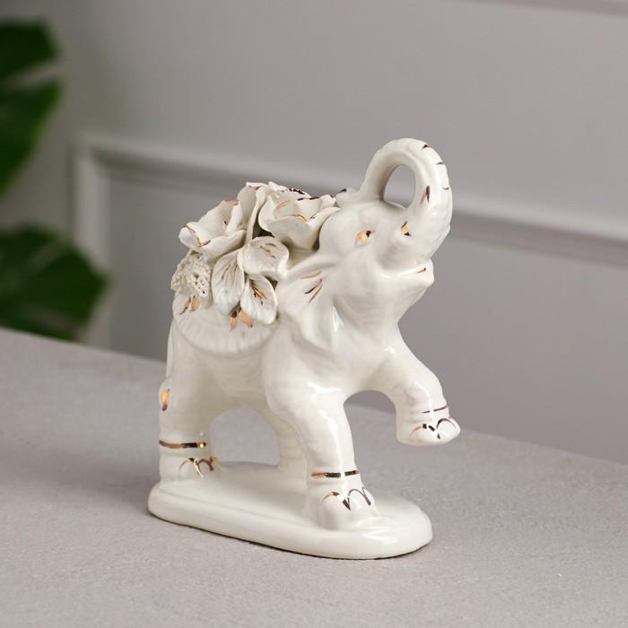 """Статуэтка """"Слон Индийский"""", белая, лепка, керамика, 18 см, микс"""