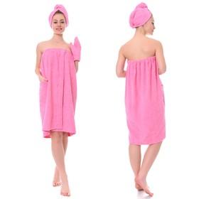 Набор д/сауны махр. жен (Килт(юбка)80х140 чалма, рукавица), цв.розовый, 380г/м, хл100%