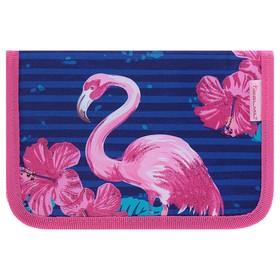 Пенал 1 секция, 2 откидные планки, 140 х 200, ткань Belmil, для девочки, Flamingo