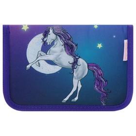 Пенал 1 секция, 2 откидные планки, 140 х 200, ткань Belmil, для девочки, Magic Horse Show