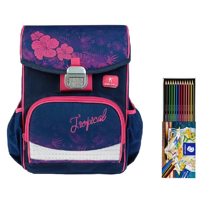 Ранец на замке Belmil Click, 35 х 26 х 17 см, для девочки, Flamingo, синий/розовый