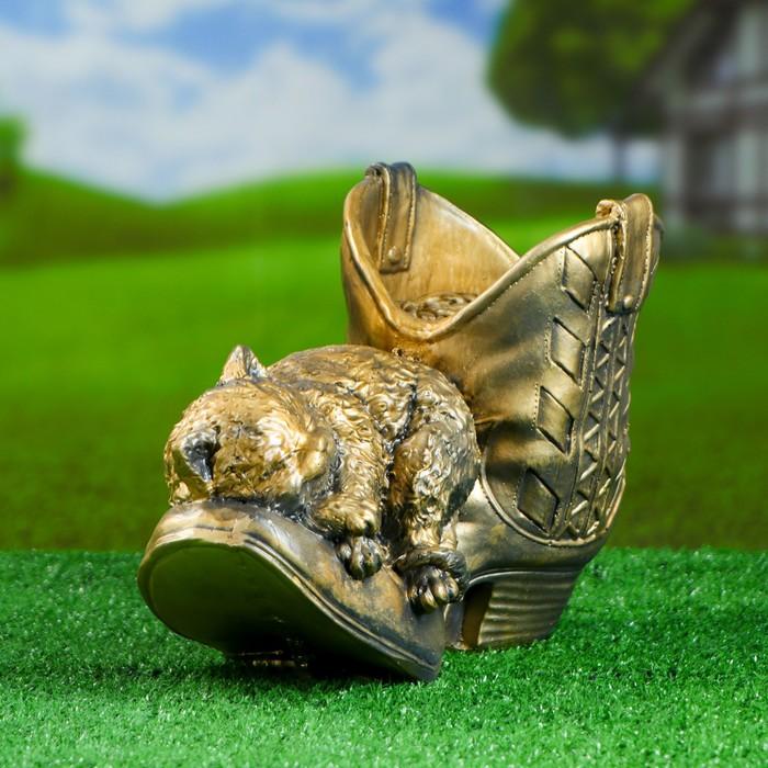 """Фигурное кашпо """"Кошка в ботинке"""""""