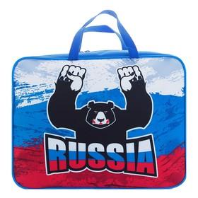 """Пaпка с ручками, текстильная, А4 340х260х80 мм """"Медведь Росии"""" (ручка-тесьма)"""