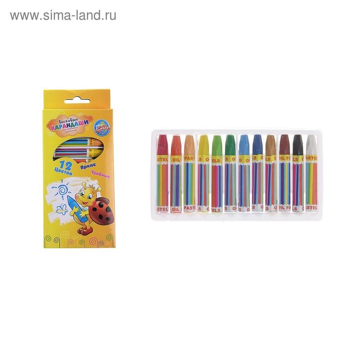 Восковые карандаши, набор из 12 цветов, высота 1 шт 7,2 см, диаметр 1,2 см