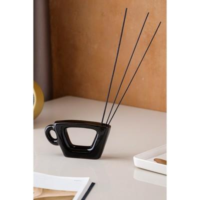 """Ваза """"Чашка"""" черная, глазурь, глянец"""