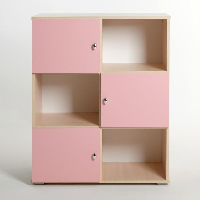 Шкаф «Алёнка», 810 × 1020 × 420, Дуб молочный/Розовый