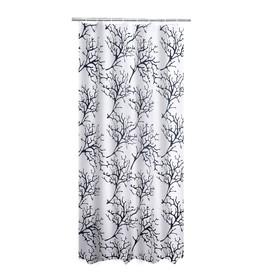 Штора для ванных комнат Coral, цвет белый/черный, 180x200 см