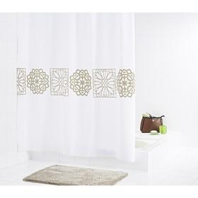 Штора для ванных комнат Tunis, цвет бежевый/коричневый, 180x200 см