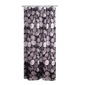 Штора для ванных комнат Piedras, цвет белый/черный, 180x200 см