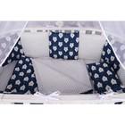 Борт в кроватку WB, 12 предметов, цвет синий, принт белые медведи