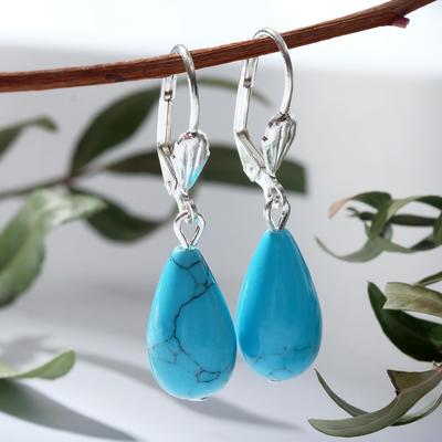 """Earrings silver plated, handmade """"Turquoise new"""" drop"""