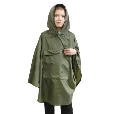 Детский плащ-дождевик с карманом, водоотталкивающий, хаки, рост 104-128 см, длина 70 см
