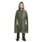 Детский распашной плащ-дождевик, водоотталкивающий, хаки, рост 134-146 см, длина 95 см